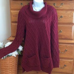 Jeanne Pierce Burgundy Tunic Sweater NWT